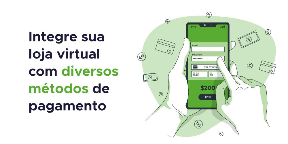 Integre sua loja virtual com diversos métodos de pagamento